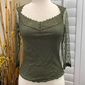 Ideology Petite Women's Tops Lace Overlay Olive